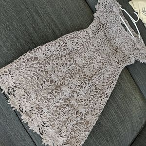 Grey Lace Cocktail Dress, Backless